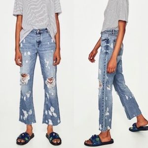 Zara mid rise relaxed distressed jeans cropped